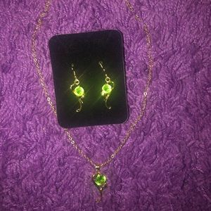 Matching Earrings & Necklace - Gold/Green